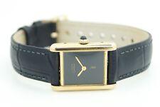 Cartier Must de Cartier Tank VERMEIL Oro Cuadrante Negro Reloj automático señoras