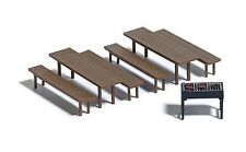 Busch 7782 Benches, Tables & BBQ Grill - Plastic Kit   HO Gauge 1st Class