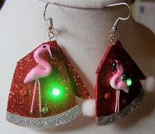 Unique BIG Ugly Sweater 925 Earrings Tacky SANTA HAT Blinking Flamingo Christmas