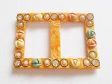 VINTAGE ART DECO 1920's celluloide perla cristallo floreale con Rose Fibbia di Cintura