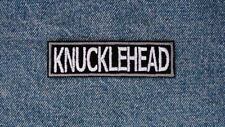 KNUCKLEHEAD Motorcycle Patch by DIXIEFARMER White Gray on Black