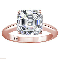 3.00 CTW Asscher Cut Solitaire Wedding Engagement Ring Set In 14k Rose Gold