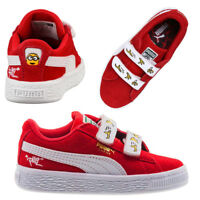 Puma Suede MInions V PS Kids Hook & Loop Red/ White Trainers 365528 01 U23