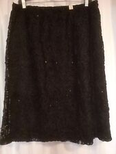 Stunning BLACK floral textured lace over stretch lined pull on skirt size 16 NEW