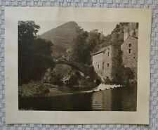 Grande Photographie Ancienne Sépia - Village au Cœur des Montagnes - Berger
