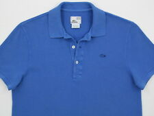 Mens Lacoste S/S VINTAGE WASHED Cotton Polo Pique Royal Blue Sz  4 / Small  MINT