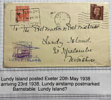 1938 Lundy Channel Island England Airmail Cover To Devonshire Via Exmouth