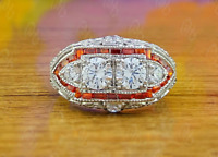 Vintage 3.20Ct Antique Art Deco Citrine Baguette Gemstone Engagement Ring Silver