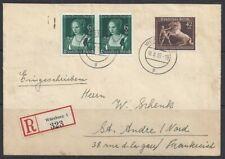 REICH-R-Letter to FRANCE 1939-Cat 100$-HORSE RACES+DURER-Transit+Arrival cancels