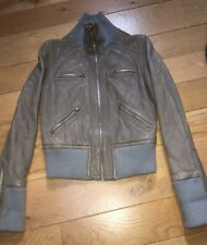 Women's By Malene Birger Leather Bomber Jacket. Grey Quilted. Size 38 UK 10.