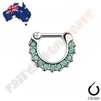316L Surgical Steel Green Paved Opalites Septum Ring Clicker