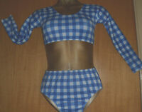 BLUE/WHITE/CHECK LYCRA/CROP AND PANT/7/9 YEAR/FREESTYLE/COSTUME