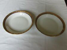 (2) ROYAL LB BAVARIA #RYB8 18K GOLD BAND & COBALT RING COUPE SOUP BOWLS 7 3/4""