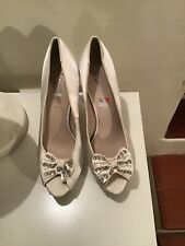 Newlook Ivory Satin Platform Shoes Uk Size 8 New And Unworn But Dirty