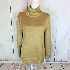 RALPH LAUREN Gold Metallic Turtleneck Stretch Sweater Christmas NWOT Sz XL