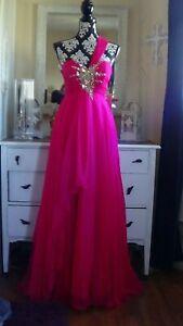 Glamorous Strapless Sequined Fuchsia Night Moves Chiffon Prom Formal Dress 6