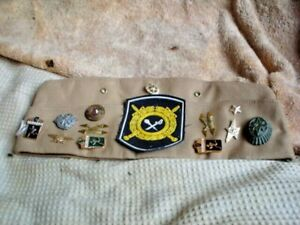 ORIGINAL GERMAN SLIDE CAP WITH 12 BADGES SIZE 7  ( 97 ) PA3M58 SEE ALL PICS