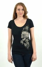 Lucky 13 Skull Rose Deep V-Neck T-Shirt Sugar Skulls Rockabilly Pinup