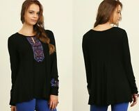 Umgee Black Blue Embroidered Peasant Keyhole Long Sleeve Top Small