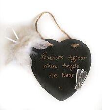 FEATHER,CLEAR QUARTZ CRYSTAL ANGEL & BLACK HEART SLATE GIFT SET
