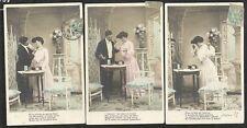 SERIE 25 3 CPA FANTAISIE HISTOIRE AMOUR CADEAU BIJOU Fête de l'Aimée 1905 C.L.C