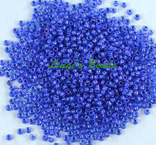15/0 Round TOHO Japan Glass Seed Bead #934-Lt Sapphire/Opaque Purple Lined 10g