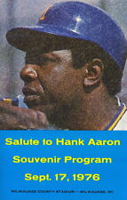 1976 Salute to Hank Aaron Night Program Milwaukee Brewers