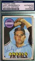 Andy Messersmith Rookie Psa Dna Coa Autograph 1969 Topps Authentic Hand Signed