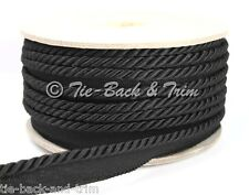 7020 Silky 6mm Flanged Rope Piping Upholstery Insertion Cord - per Metre 700 Black