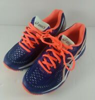 Asics Womens Size 5 US Gel-Kayano 23 Running Shoes T6A6N Blue Silver Flash Coral