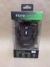 iHome Desktop Mouse Wireless Nano Receiver and Click Wheel Black IHM361B New