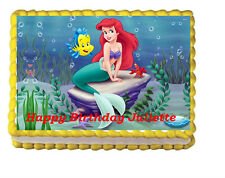 Little Mermaid Ariel Birthday Edible Cake Topper 1/4 Frosting Icing sheet