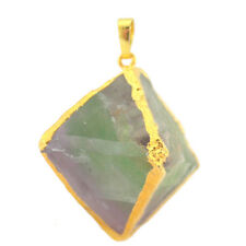 Rare Gemstone Green Fluorite Yellow Gold Plated Necklace Pendants