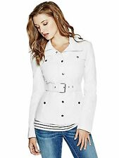 GUESS Jacket Women's Faux Leather Belted Jacket w- Knit Side Panels S Ivory NWT