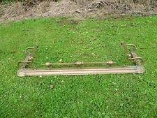 AN ANTIQUE, LARGE, BRASS FIREPLACE FENDER, LARGE, ORNATE BRASS FIREPLACE FENDER