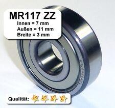 4 Stk. Radiales Rillen-Kugellager MR117ZZ - 7x11x3, Da=11mm, Di=7mm, Breite=3mm