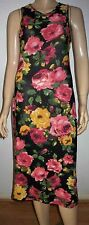 GLAMOROUS Black Multi  Colour Floral Print Sleeveless Summer Midi Dress Size 12