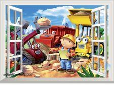 Bob the builder bulldozer 3D Window Scene Wall Decals Kids Party Decor Sticker