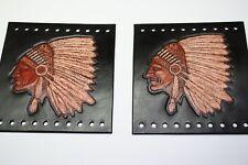 Custom Leather Native American Indian w/ Head Dress Grip Cover Black Set New