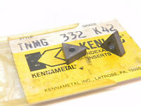 NEW SURPLUS 4PCS. KENNAMETAL  TNMG 332  GRADE: K42  CARBIDE INSERTS