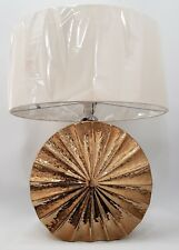 Sparkly Gold Round Table Lamp With 18 inch Cream Linen Shade