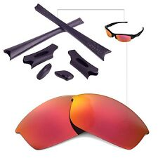 WL Polarized Fire Red Replacement Lenses Black Rubber Kit For Oakley Flak Jacket