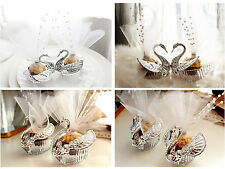 10Pcs Swan Engagement Wedding Favor Boxes Bomboniere Candy Box Gift