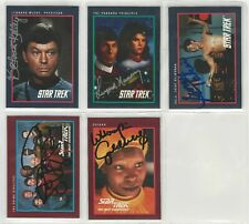 Lot of 5 1991 Impel Star Trek Signed Autographs DeForest Kelley Leonard Nimoy ++