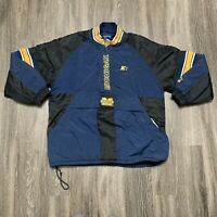 Vintage Starter Michigan Pullover Jacket Adult Size XL Blue Puffer Wolverines