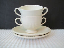 Wedgwood England EDME 2 Footed Bouillon Cup & Saucers Preowned