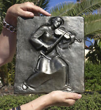Music, playing violin, cast iron plaque 265x225 mm