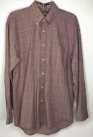 Alan Flusser Men's Shirt M Medium Button Down Long Sleeve Red Window Pane Plaid