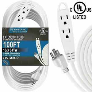 Outlet Extension Cord, 100 Feet 3 Power Strip UL Listed for Indoor Outdoor Use