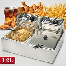 12L Dual Tanks Electric Deep Fryer Commercial Tabletop Fryer +Basket Scoop 5000W